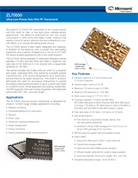 Product Brief for Microsemi ZL70550 Ultra-Low-Power Sub-GHz RF Transceiver