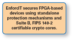 EnforcIT secures FPGA-based devices using standalone protection mechanisms and Suite B, FIPS 140-2 certifiable crypto cores.
